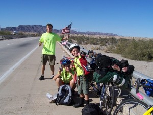 Biking across the country with my family.