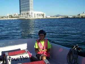 Riding across the bay to Coronado Island.